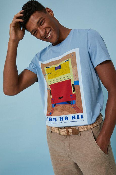 T-shirt męski z bawełny organicznej by Ewelina Gąska, Summer Posters niebieski
