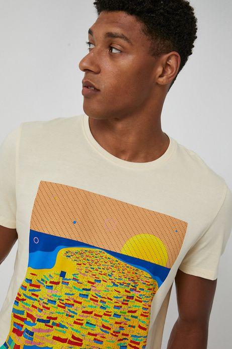 T-shirt męski z bawełny organicznej by Ewelina Gąska,  Summer Posters żółty