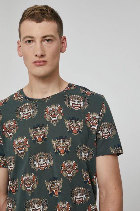 T-shirt męski z bawełny organicznej Barong Mask zielony