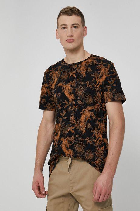 T-shirt męski z bawełny organicznej  wzorzysty