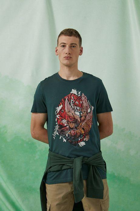 T-shirt bawełniany by Sebastián Rubiano, Grafika Polska zielony