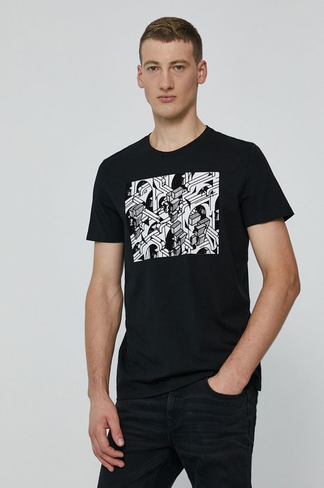 T-shirt męski z bawełny organicznej  by Łukasz Kundzicz Grafika Polska czarny