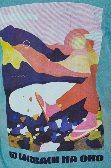 T-shirt bawełniany męski by Ewelina Gąska, Grafika Polska turkusowy