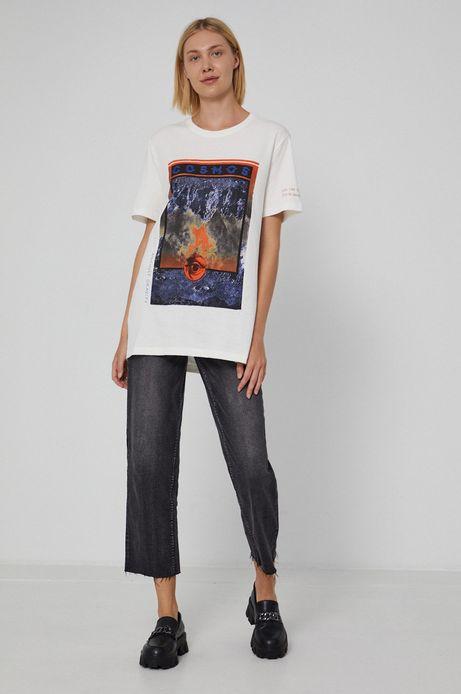 T-shirt unisex bawełniany z nadrukiem biały