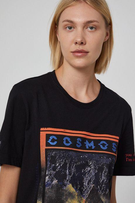 T-shirt unisex bawełniany z nadrukiem czarny