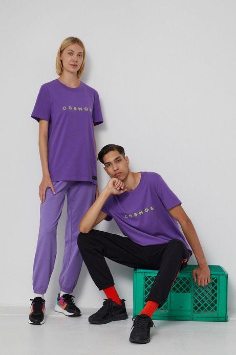 T-shirt bawełniany z nadrukiem unisex fioletowy