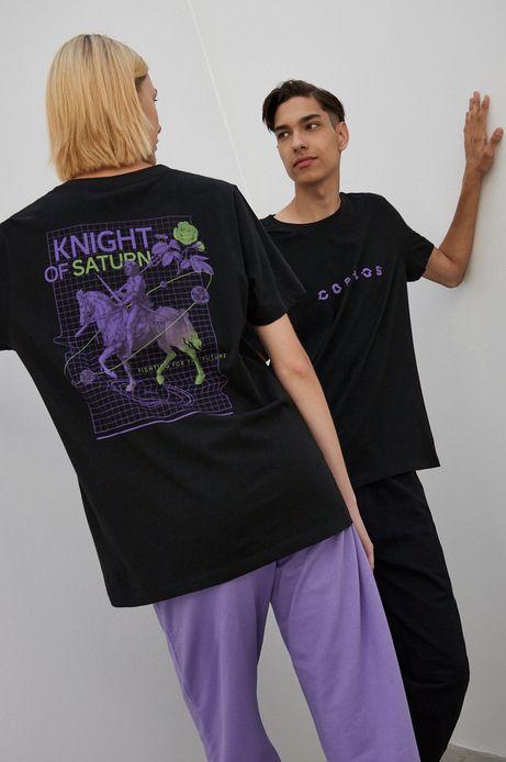T-shirt bawełniany z nadrukiem unisex czarny