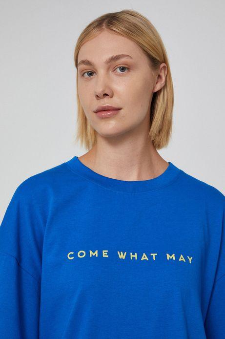 T-shirt unisex bawełniany z nadrukiem niebieski