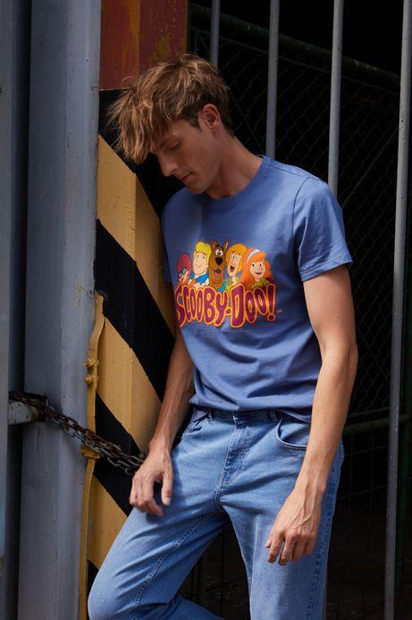 T-shirt bawełniany męski z nadrukiem Scooby-Doo niebieski