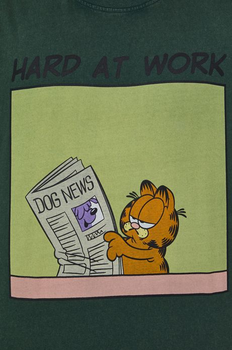 T-shirt bawełniany męski z nadrukiem Garfield zielony
