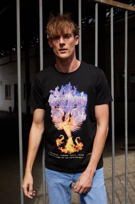T-shirt bawełniany męski z nadrukiem Deep Purple czarny