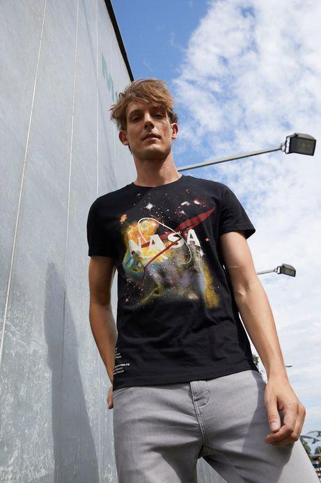T-shirt bawełniany męski z nadrukiem Nasa czarny