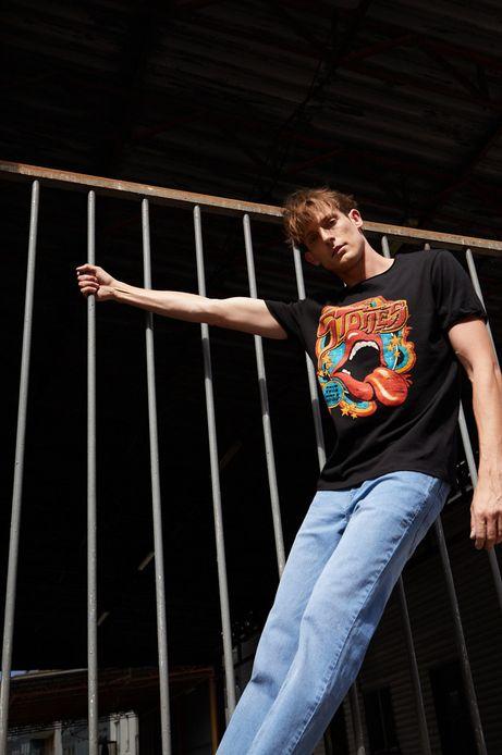 T-shirt bawełniany męski z nadrukiem The Rolling Stones czarny