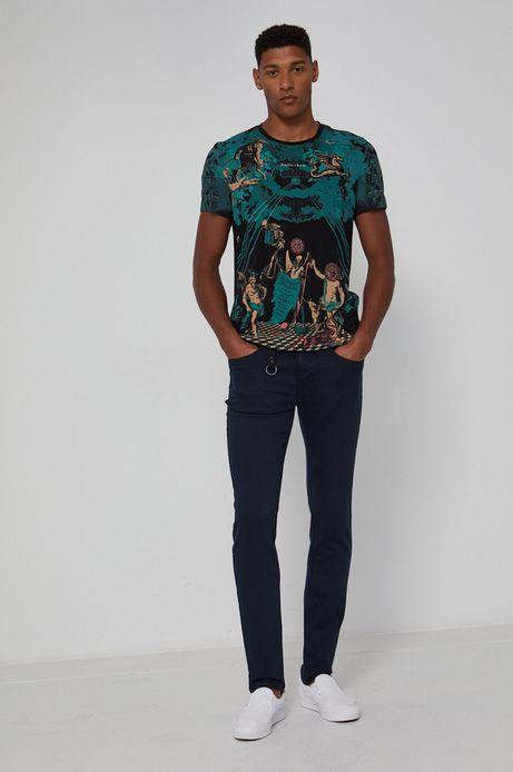 Wzorzysty t-shirt męski z bawełny organicznej czarny