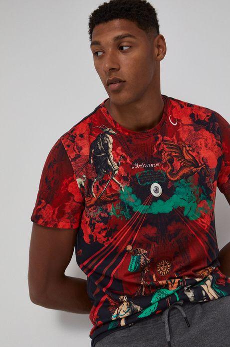 Wzorzysty t-shirt męski czerwony z bawełnianej dzianiny