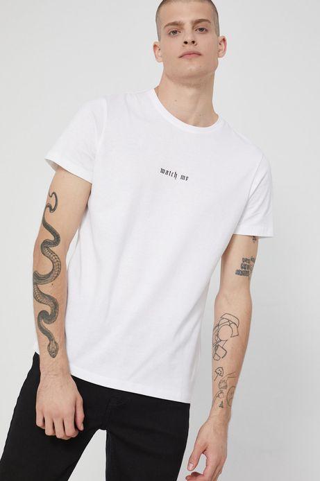 T-shirt bawełniany z nadrukiem biały