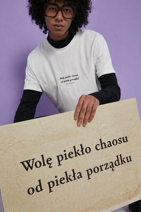 T-shirt bawełniany męski kremowy z kolekcji Możliwości - Fundacja Wisławy Szymborskiej