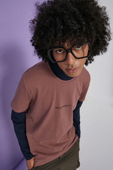 T-shirt bawełniany męski różowy z kolekcji Możliwości - Fundacja Wisławy Szymborskiej