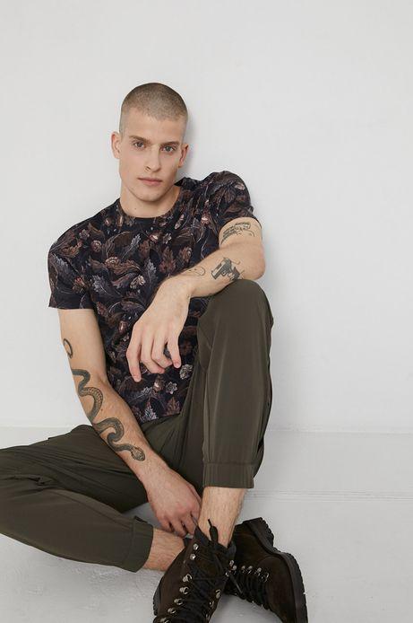 T-shirt bawełniany wzorzysty brązowy