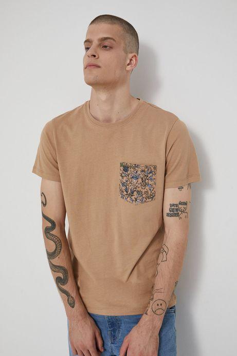 T-shirt bawełniany męski beżowy
