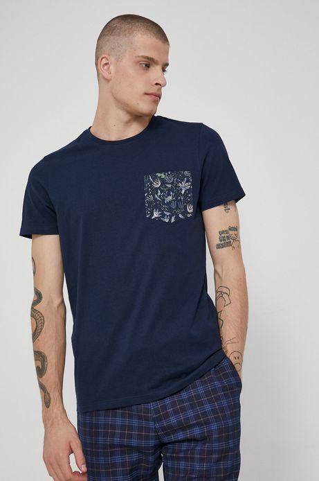 T-shirt bawełniany męski granatowy