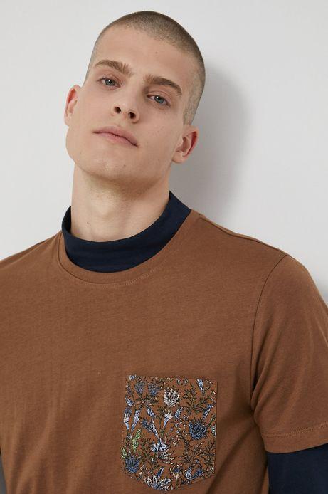 T-shirt bawełniany męski brązowy