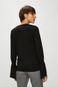 Bluzka damska czarna z rękawami zakończonymi ściągaczami