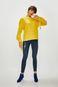 Sweter damski żółty z wiązaniami  na rękawach