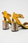 Sandały damskie na słupku żółte