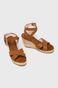 Sandały damskie na koturnie brązowe