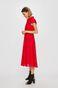 Sukienka damska z ażurowej tkaniny czerwona