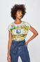 T-shirt damski z kolekcji Eviva L'arte z nadrukiem kremowy