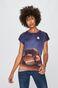 T-shirt damski z kolekcji Eviva L'arte z nadrukiem granatowy