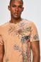 T-shirt męski wzorzysty pomarańczowy