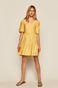 Sukienka damska z marszczeniami żółta