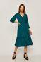 Sukienka damska z ozdobną falbanką zielona