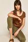 T-shirt damski gładki brązowy