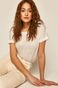 T-shirt damski lniany biały