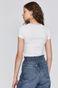 T-shirt damski z koronkową wstawką biały