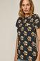T-shirt damski z nadrukiem Kostka Rubika czarny