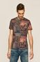 T-shirt męski wzorzysty brązowy