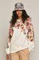 Bawełniana bluza damska z motywem kwiatowym kremowa