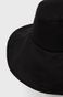 Lniany kapelusz damski z wiązaniem czarny