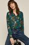 Koszula damska w roślinny wzór turkusowa