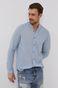 Koszula bawełniana męska ze stójką niebieska