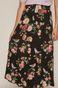 Spódnica damska midi z falbaną w kwiaty czarna