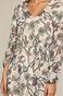 Długa wzorzysta sukienka damska z dekoltem V kremowa
