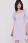 Dopasowana sukienka damska z fantazyjnym rękawem i  dekoltem w łódkę fioletowa