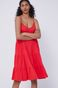 Sukienka damska z marszczeniami na ramiączkach czerwona