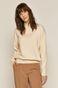 Sweter damski z golfem kremowy